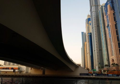Under the bridge in Dubai Marina