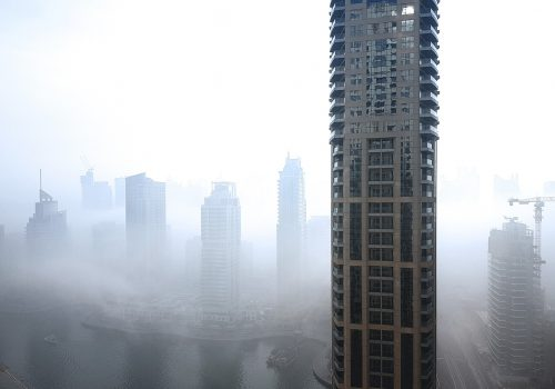 Morning fog at Dubai Marina