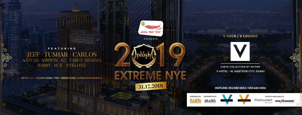 Plush Extreme NYE 2019 at the V Hotel Dubai - Coming Soon in UAE, comingsoon.ae