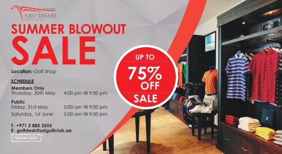 Summer Blowout sale at Abu Dhabi Golf Club - comingsoon.ae