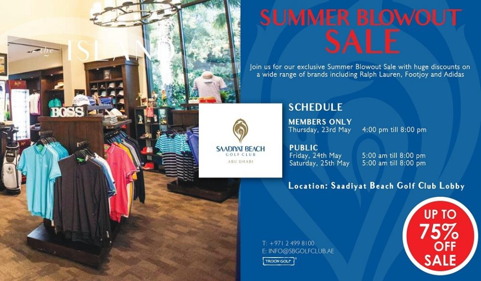 Summer Blowout sale at Saadiyat Beach Golf Club - Coming Soon in UAE, comingsoon.ae