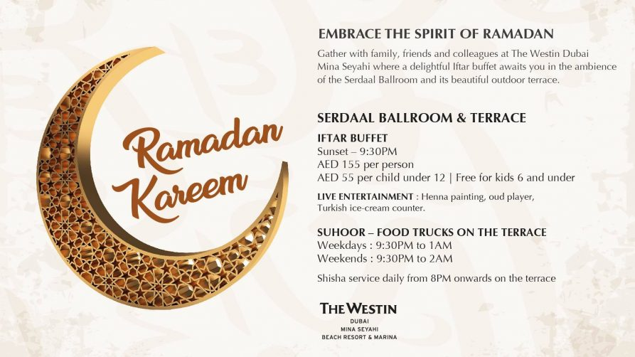 Iftar at The Westin Dubai Mina Seyahi - Coming Soon in UAE, comingsoon.ae