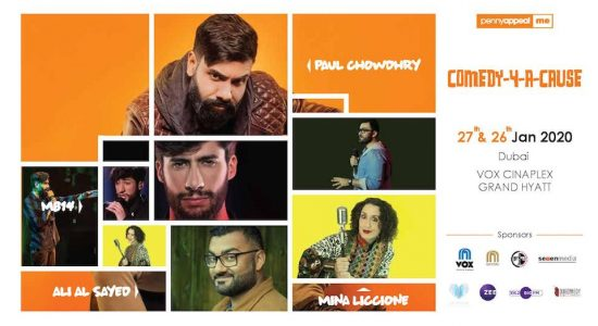 COMEDY-4-A-CAUSE is set by PAUL CHOWDHRY, ALI AL SAYED, MINA LICCIONE & MB14 - comingsoon.ae